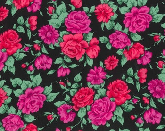 "Pink and Magenta and Black Rose Print Challis, Gertie by Gretchen Hirsch Fabric, 54"" wide, 1 yard"