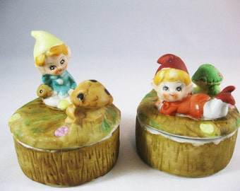 Homco Elves Trinket Jars, Chirpy Woodland Elves