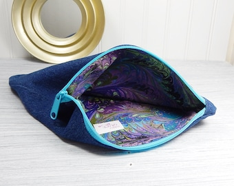 Makeup bag, denim zipper bag, denim cosmetics pouch, flat zipper bag, bank bag, money bag, art supplies bag