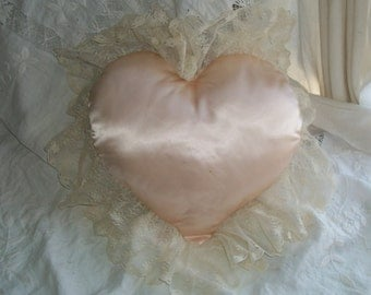 "Heart Satin and Lace Ringbearer Pillow Wedding Large 13"" by 13"" Lovely Unique Shabby Chic"