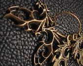 Dragon Charms, Antique Bronze, Filigree Chinese Dragon, Charm Pendants 30x42mm, destash, jewelry supplies