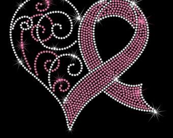 "8.5"" Breast Cancer Awareness Ribbon iron on rhinestone transfer"