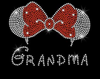 "7.2"" Minnie Mouse ears Grandma iron on rhinestone transfer your color choice"