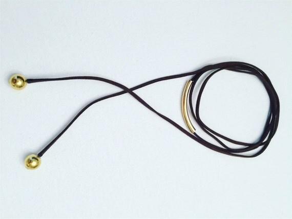 Suede & Metal Bar Choker-Bracelet
