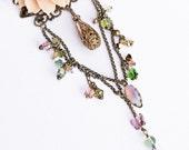 Romantic Flower Necklace Peach Peony Swarovski Butterflies Vintage Beads Filigree Victorian Shabby Chic Gypsy Boho Green Lavender Pink OOAK