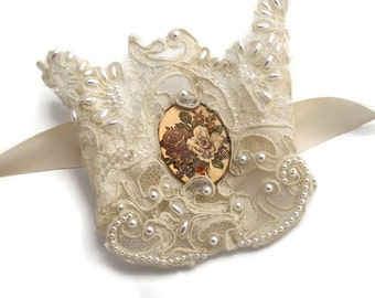Lace Wedding Cuff Hand Sewn Vintage Tattered Lace Vintage Floral Cabochon Satin Ribbon Pearls Shabby Chic Victorian Bride Ivory Cream OOAK
