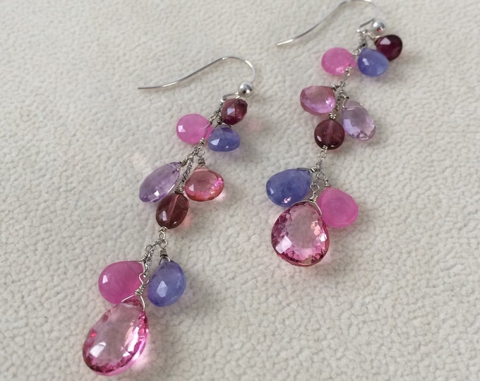 Pink Sapphire Gemstone Dangle Earrings in 14K White Gold, Mystic Pink Topaz, Tanzanite, Tourmaline, Ametrine