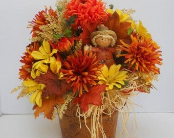 Fall Silk Flower Arrangement With Scarecrow, Floral Table Centerpiece