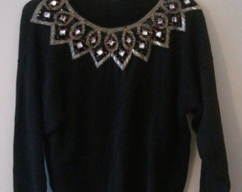 SALE black sweater jeweled bedazzled beaded embroidered dress evening holiday gorgeousness