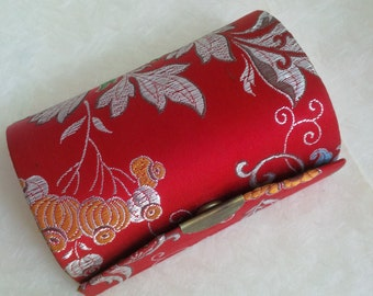 Asian vintage lipstick holder - Jewelry case Red flowers pattern