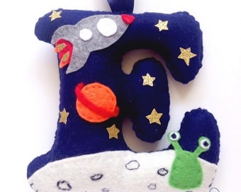 Handmade Personalised initial Wool Blend Felt in Space theme. Perfect for a Nursery, New Baby, Christening, Bedroom