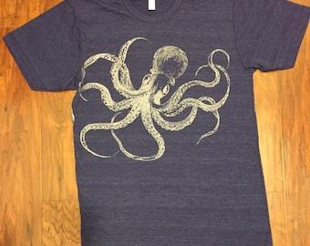 Kraken Octopus T-Shirt American Apparel Tri-Blend Indigo Blue XS S M L or XL