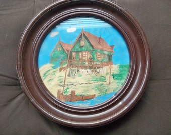 very old painting on round paper  of house on water in markem