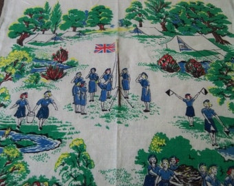 all pure linen girl guide kitchen tea  towel  made in ireland