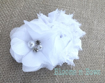 White Flower Girl Hair Clip, flower girl hair accessory, flower girl hair clip, chiffon Baby Headband, Baby Headband, flower girl headband