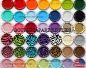 """500 pcs Colored Mixed Lot of   Flat  Flattened  1""""  Double Sided Painted Bottle Caps  You Choose the Colors"""