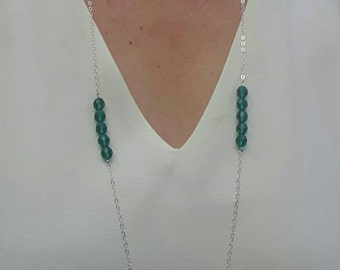 Long Emerald Green Crystal & Silver Necklace
