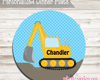 Personalized Dinner Plate |  Little Digger Construction | Birthday Gift | Toddler Plate Gift | Kids Gift