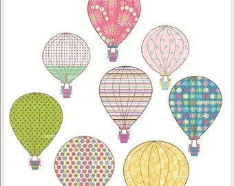 ON SALE hot air balloon clipart, personnel and commercial use clipart, printable, scrapbooking