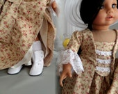 Reserved for Lorraine - 1770s Designer Sacque Back Gown, Petticoat And Hat - 18 Inch Doll Clothes  Shown On Sophia's® Doll - 1079