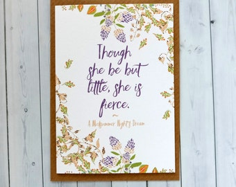 SALE New Baby Girl Card - Though She Be But Little She Is Fierce - Shakespeare Quote - New Baby Card - Blank Cards - Floral Card (199)