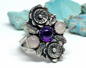 Sterling Silver Flower Ring - Purple and Pink - Amethyst and quartz - Gift for Her