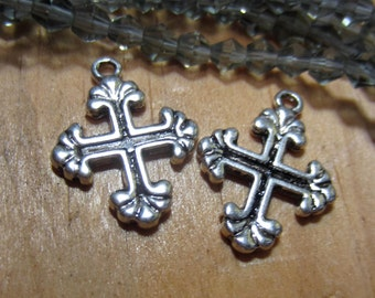18 Silver cross charms double sided  pendants antiqued metal christian charms 20mm x 15mm HP-SR5-4