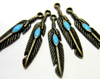 18 Feather charms antique bronze turquoise enamel tribal pendants 28mm S394 native American hippie charms ethnic gypsy charms SR5-5