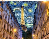 SALE - Ships Aug 27 - Paris Photograph Van Gogh Print Midnight in Paris Eiffel Tower Photo Woody Allen Starry Night Print par25