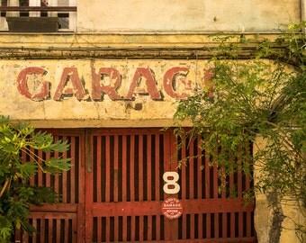 Paris Photo Vintage Garage Sign Photograph France Print Neutral Colors Red Yellow Paris Decor Home Decor par154
