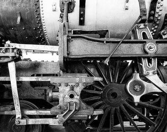 Locomotive Photo Train Vintage Photo Engine Photography Black White Man Cave Masculine Gift For Men For Guys #vin4