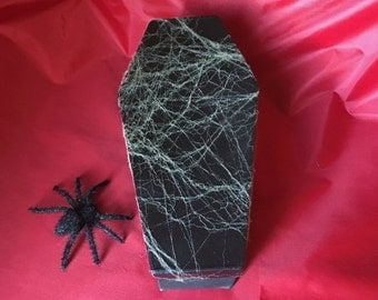 Coffin Box With Spider Webbing, Coffin Gift Box, Jewelry Box, Halloween Supplies, Black Coffin, Spider Web, Custom Handmade, DIY Adding Art