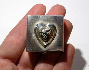 Antique, Sterling Silver, Hinged Pill Box has been Up-Cycled with a Beautiful Fordite Cabochon ~ mrfeld ~ FPB46