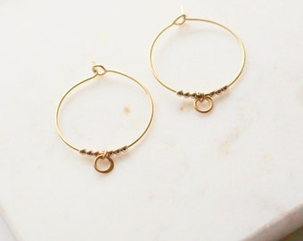 Beaded Gold Hoop earrings - classic small gold embellished hoops
