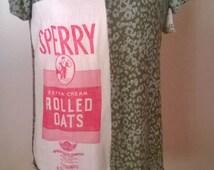 flour sack dress,knit Dress, Cottage chic vintage, fabric knit dress,vintage flour sack , Tunic style fashion Dress, READY TO SHIP