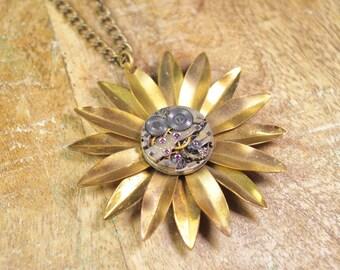 Steampunk Necklace - Vintage Ruby Jewel Watch Movement - Brass Flower - Pendant Necklace by Steampunk Vintage Design