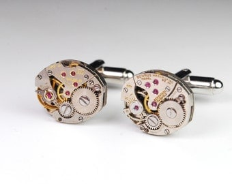 Steampunk Cufflinks Vintage Swiss Watch Movement Mens Gear Cuff Links by Steampunk Vintage Design