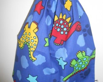 Medium Blue Dinosaur Library Bag, Book Bag, Animal Fabric, Animal Bag, Laundry Bag, Boys Bag, Kids Bag, Handmade in Australia