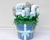 Elephant Baby Gift, Elephant Baby Shower, Corporate Baby Gift, Group Baby Gift, Boy Baby Gift Basket, New Mom Basket, Blue Elephant Gift