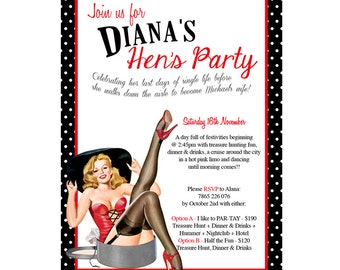 You Print lingerie wedding shower party invitation pin up DIGITAL customize can order