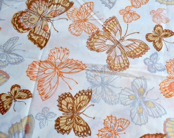 Vintage Pillowcase - Orange and Brown Butterflies - King Size