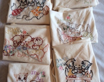 Vintage Embroidered Tea Towels - Household Chores