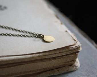 Brass Drop Necklace - Minimal Necklace - Brass Dot Necklace - Dainty Layered Necklace