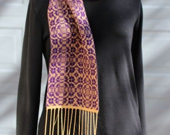 Handwoven tencel scarf, purple, gold, wrap, table topper, runner