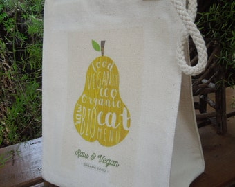Recycled cotton lunch bag - Canvas lunch bag - Gender neutral lunch bag - Raw and vegan, eat organic