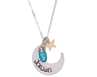 Sterling Silver Crescent Moon Necklace with Swarovski Birthstone Crystal and Star Charm
