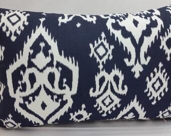 "RTS Raji navy blue and white ikat toss pillow, 20 x 12"" lumbar, white pink RTS"