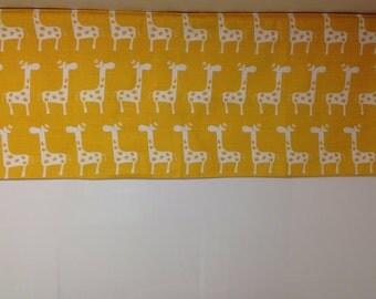 RTS, Lined valance, 42 x 16 inches, yellow white stretch giraffe, stripe cotton, kids decor, nursery