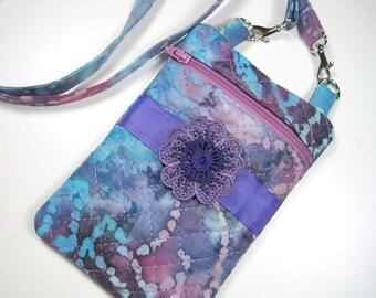 Cross-body Bag - Purple Flower