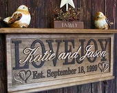 Personalized Family Name Signs Personalized wedding gift Wall Shelf Wood Floating wall shelf decor holder custom CARVED Sign Couples sign